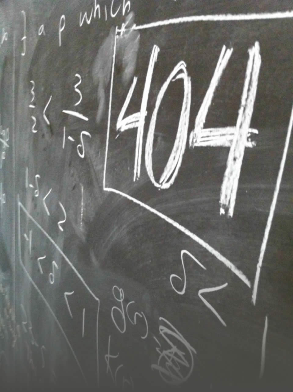 404 amongst math symbols on a chalkboard
