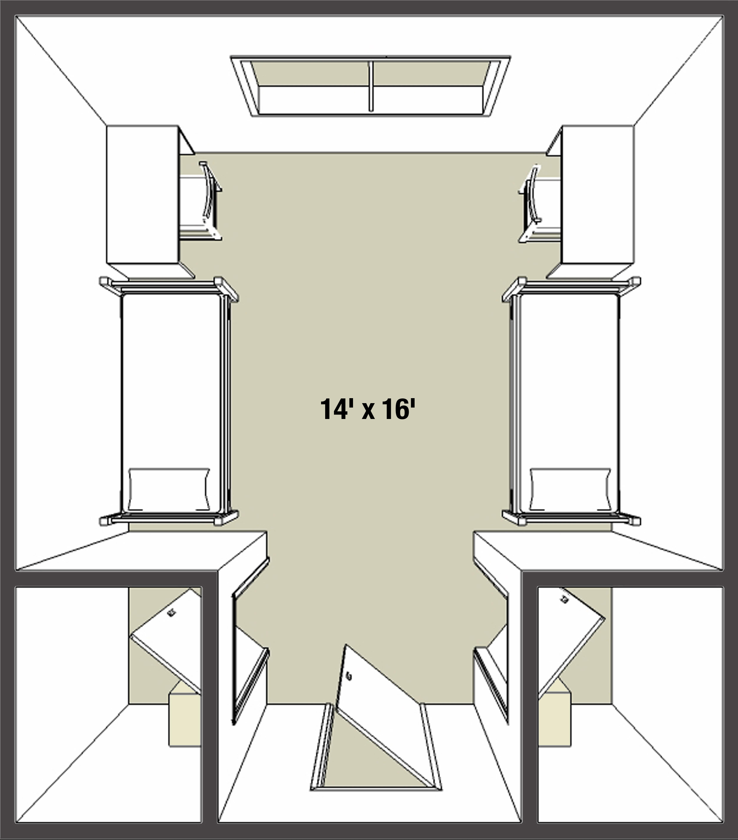 Double dorm room layouts - Take A Look At A Typical Room Layout For A Double Occupancy Room