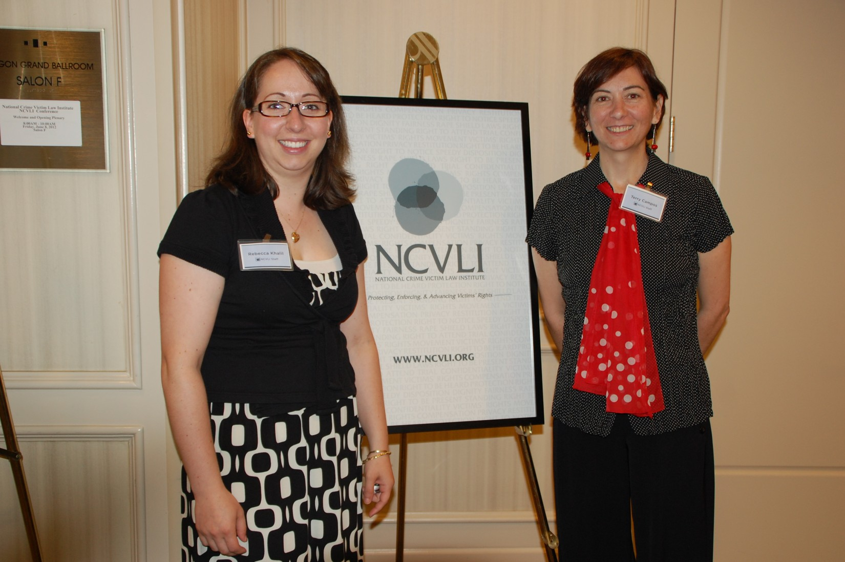 NCVLI staff members Rebecca Khalil and Terry Campos.