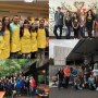 Collage of photos shows groups of law students volunteering at various locations.
