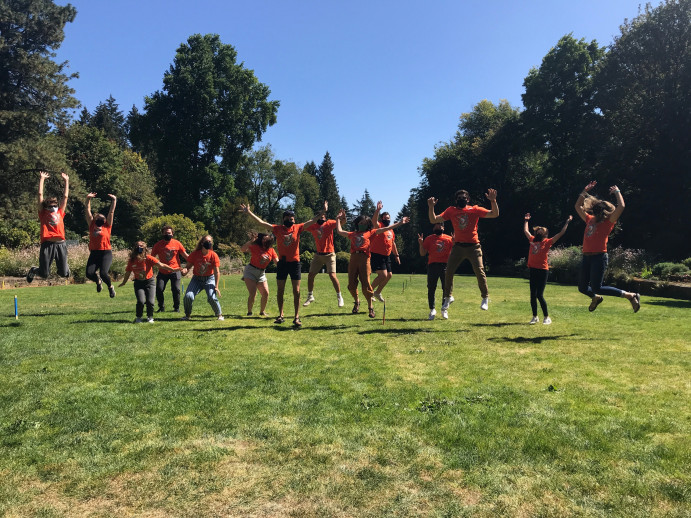 NSO leaders jumping on the Platt Lawn!