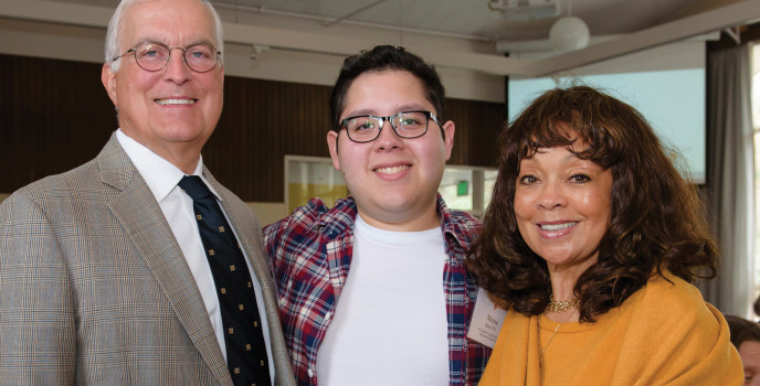 Chris and Mardra Jay with Moises Rios, a graduate student in professional mental health counselin...