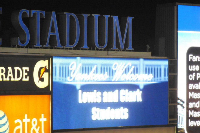 A welcome message at the Yankee Stadium