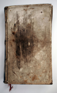 Front cover of the 1735 calfskin bound book.