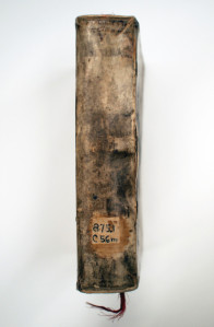Spine of book showing old Dewey classification shelf number.