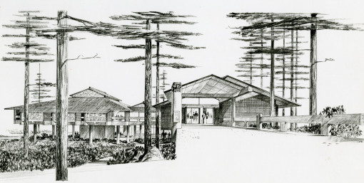 Watzek Library Architectural Sketch, ca. 1966