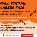 Poster on multi-colored background with instructions to RSVP for the Virtual Fair in Handshake