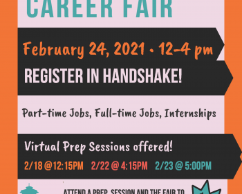 Poster for Joint Virtual Fair in Handshake. Registration begins Feb. 1st for Alumni and Students....