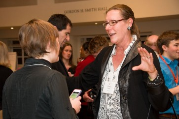 Dana Plautz B.S. '82 participates in a networking event on campus
