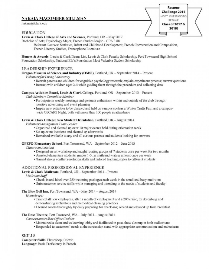 Highlights Post : First Resume For Student