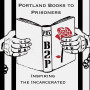 "Hands holding a book open inbetween bars. The book has a rose on one side and ""PDX B2P"" o..."