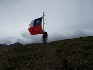 Feeling patriotic at the top of Cerro Bandera in Isla Navarino in Southern Chile