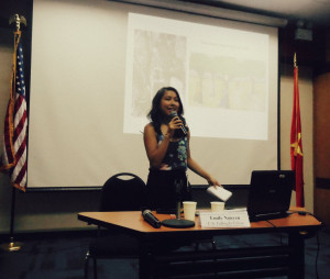 Emily Nguyen gives a talk at the US Embassy in Vietnam.