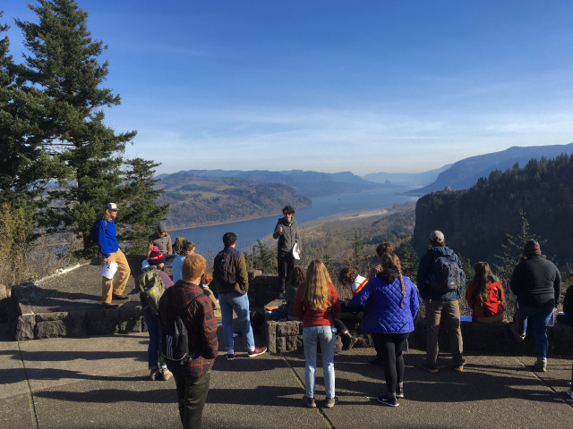 Professor Liz Safran's Environmental Geology class takes a field trip to the Columbia River Gorge.