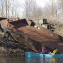 Students discover an old barge on the Columbia River Slough - ENVS 330 - Spring 2014