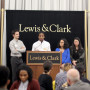 Symposium co-chairs (L)Alexander Castanes '18, Christen Cormer '18, Michelle Waters '19, an...