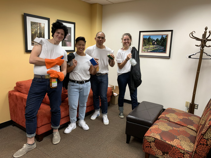 "Student Rights and Responsibilities staff dress as ""De-Greasers"" for Halloween 2019"
