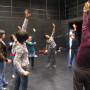 Stephen Weeks and students in acting warmups