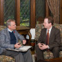 Congressman Earl Blumenauer B.A. '70, J.D. '76, talks with President Barry Glassner in Lewis ...