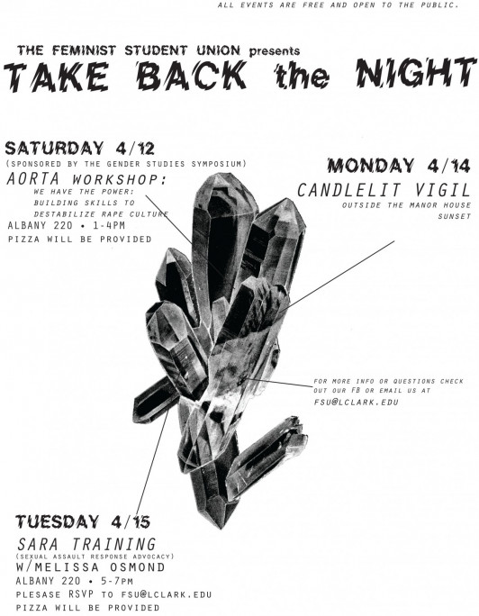 The Feminist Student Union presents TAKE BACK the NIGHT events, sponsored by the Gender Studies Symposium.
