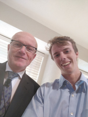 LC student Jake Sherer poses for a selfie with Ambassador Wouters